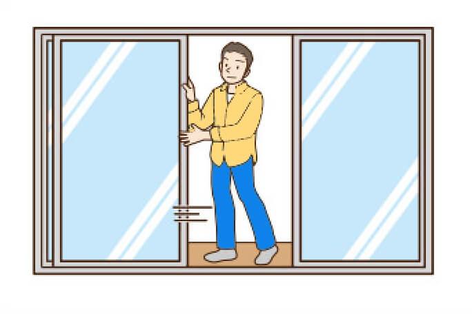 窓を開ける
